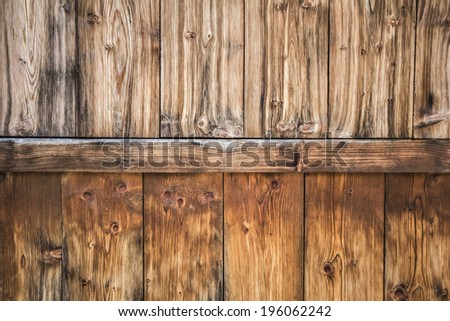 Old Pine wood fence planks, with featured annual growth ring line patterns and knots details, with rusty nails and phillips screw embedded - stock photo