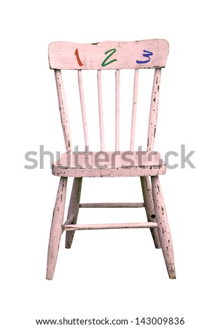 old pink wooden chair with 1, 2, 3, numbers on a white background - stock photo
