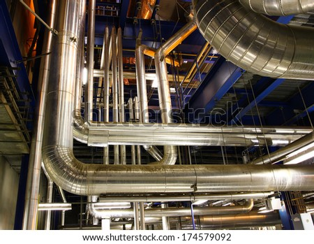 Old pipe in the Powerhouse - stock photo
