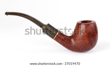 old pipe on white background - stock photo