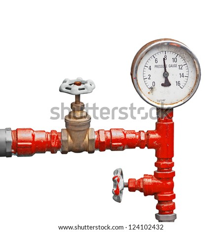 Old pipes and valves - high pressure supply isolated on white background - stock photo