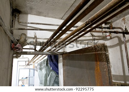 Old pipes in a basement