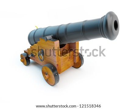 Old pirate cannon on a white background - stock photo