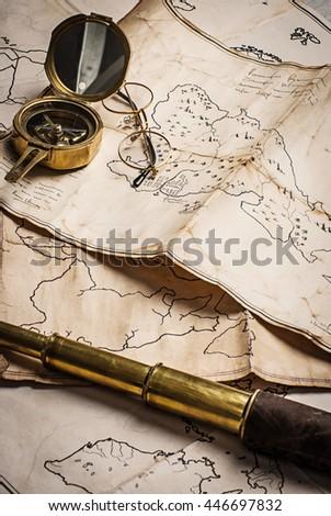 old pirate treasure map - stock photo