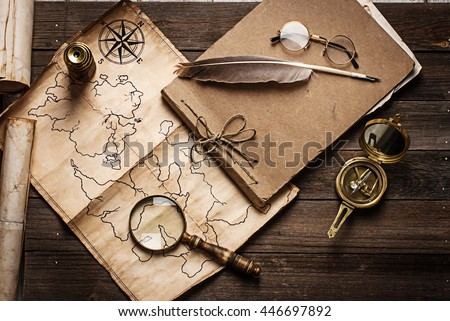 old pirate treasure map - stock photo