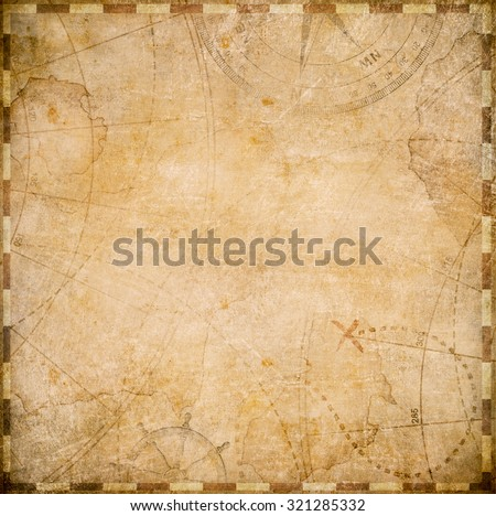 old pirates map square form - stock photo