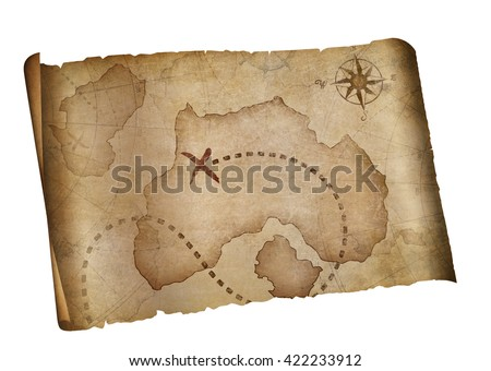 old pirates treasure map isolated with clipping path included