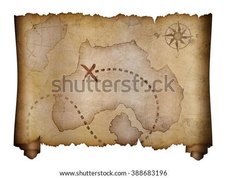 old pirates treasure map scroll - stock photo