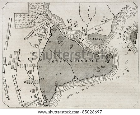 Old plan of Constantinople. By unidentified author, published on Magasin Pittoresque, Paris, 1840 - stock photo
