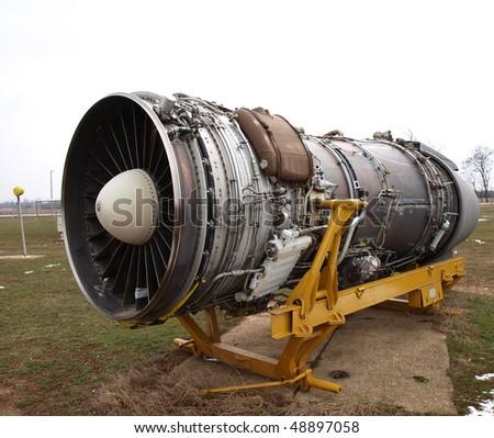 old plane turbine - stock photo