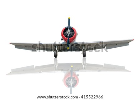 Old plane with shadow on white background - stock photo