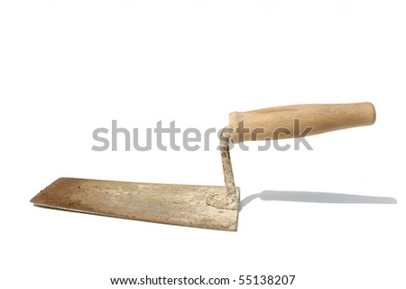 Old plastering trowel - stock photo