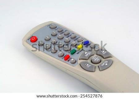 Old plastic television remote control. Remote control. - stock photo