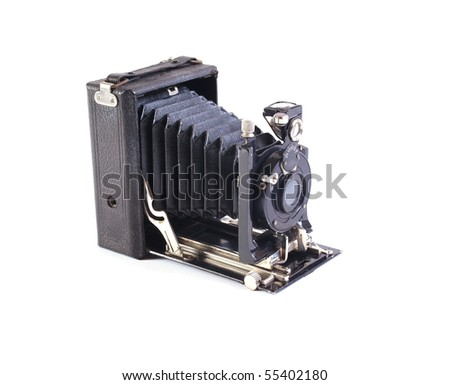 Old plate camera on a white background. - stock photo