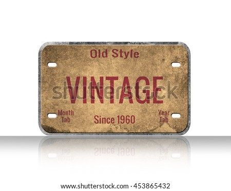 Old plate. Vintage image. car number isolated on white background