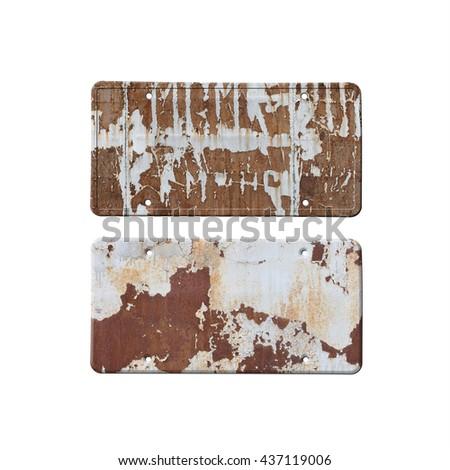 Old plates isolated on white background - stock photo
