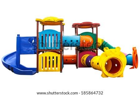 old playground isolated on white background. - stock photo