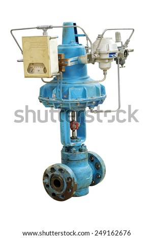 Old pneumatic valve. Close-up isolated on white background. - stock photo