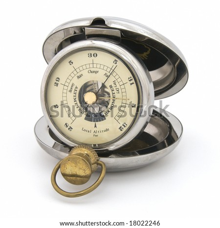 Old pocket barometer altimeter. Closeup, isolated - stock photo