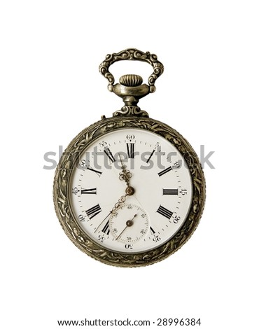 Old Pocket watch from the 1900s on a white background - stock photo