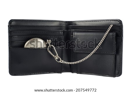 Old pocket watch in a black leather wallet billfold, isolated over the white background