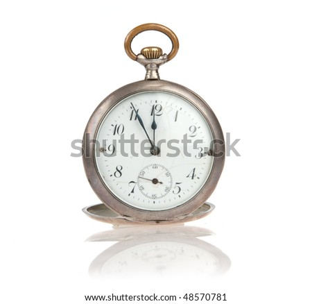 old pocket watch isolated over white