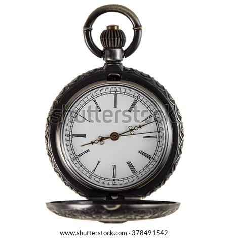old pocket watch on white background - stock photo