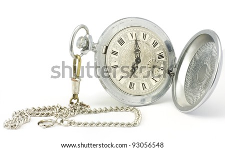 Old pocket watch with chain on white background. - stock photo