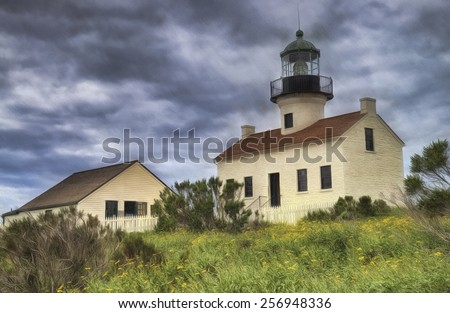 Old Point Loma Lighthouse in San Diego, California - stock photo