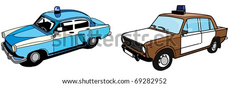 Old Police Cars - stock photo