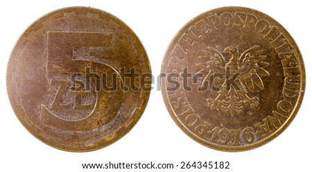 old polish coin isolated on white background - stock photo