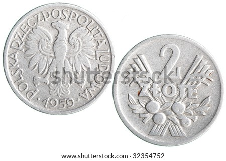 Old Polish zloty coins isolated over white background - stock photo