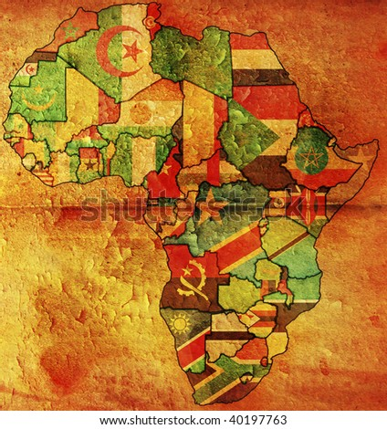 Old Political Map Africa Country Flags Stock Illustration 40197763 ...