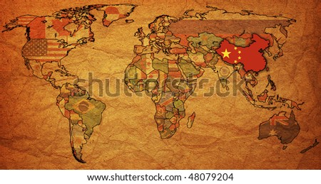 old political map of world with flag of china