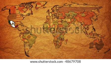 old political map of world with flag of mexico - stock photo