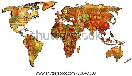 old political map of world with flag of morocco - stock photo