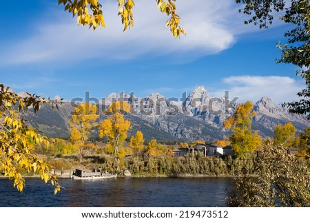 Old pontoon ferry across the Snake River. Menor's Ferry was built in 1892 and worked until 1927.  Grand Teton National Park, Wyoming, USA - stock photo