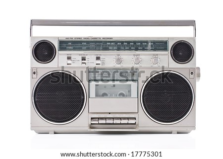 Old Portable Radio Cassette Player - stock photo