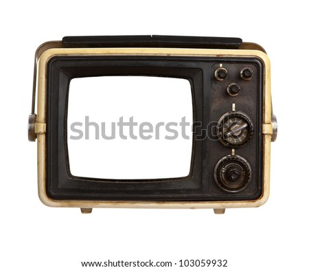 Old portable TV receiver with blank screen isolated on white background - stock photo