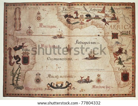 Old Portolan chart of Atlantic Ocean. Created by Diego Homem, published in England, 1558. - stock photo