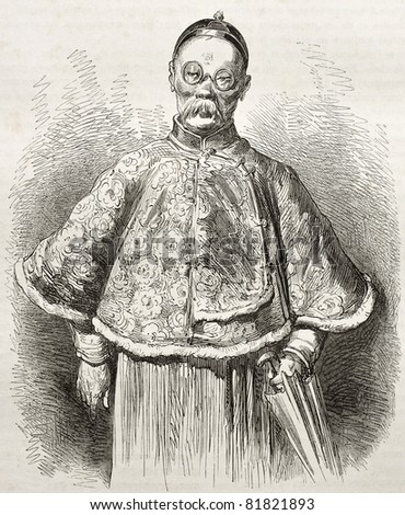 Old portrait of a Chinese merchant. Created by Dore after Trevise, published on Le Tour du Monde, Paris, 1860 - stock photo