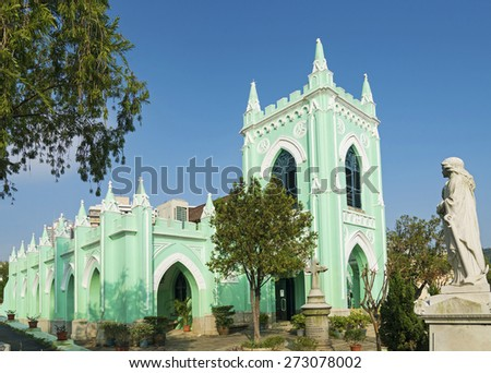 old portuguese St michael christian cemetery church in macau macao china - stock photo