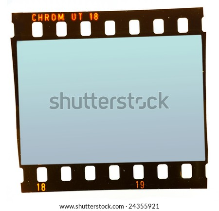 Old positive film frame isolated on white background