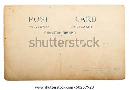 """old post card with english, russian, german and polish inscription """"POST CARD"""" - stock photo"""