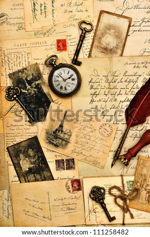 old post cards, letters and photos. nostalgic vintage background - stock photo