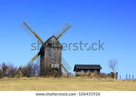 Old post windmill on the island of Usedom, Baltic Sea, Mecklenburg-Western Pomerania, Germany