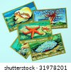 old postage stamps - stock photo
