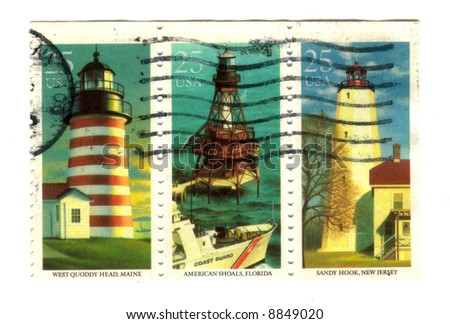 Old postage stamps from USA with Lighthouses