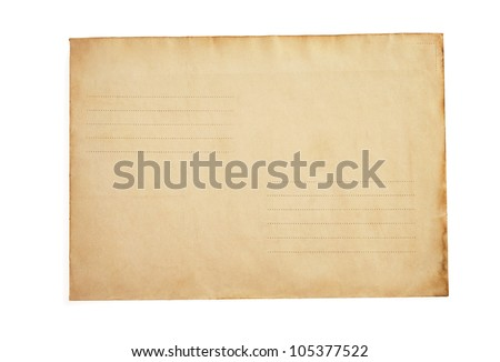 old postal envelope isolated on white background