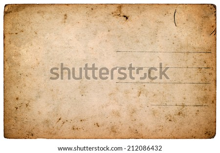 old postcard. aged blank paper sheet isolated on white background. retro style toned picture